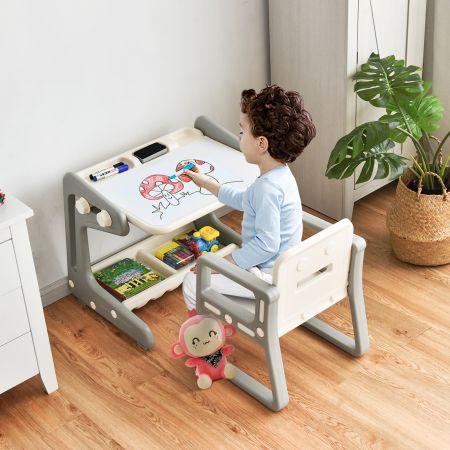 Costway Chevalet à Dessin pour Enfant avec Tableau Magnétique Inclinable Réglable