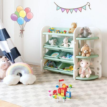 Costway Etagère pour Jouet Livres d'Enfant avec 6 Bacs Amovible et Etagère d'Angle Meuble de Rangement
