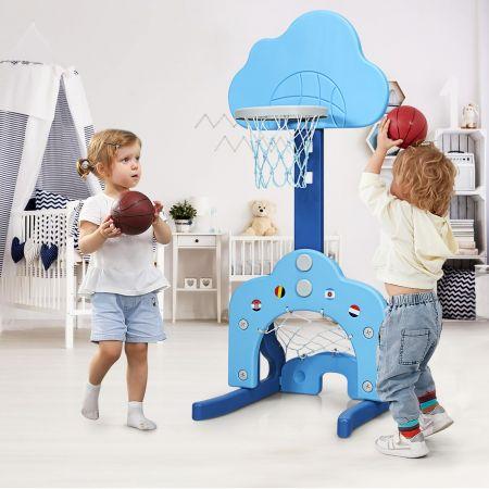 Costway Support de Basket Multifonctionnel 3-en-1 Hauteur Ajustable du Panier de 77 à 116cm Bleu clair et Bleu foncé