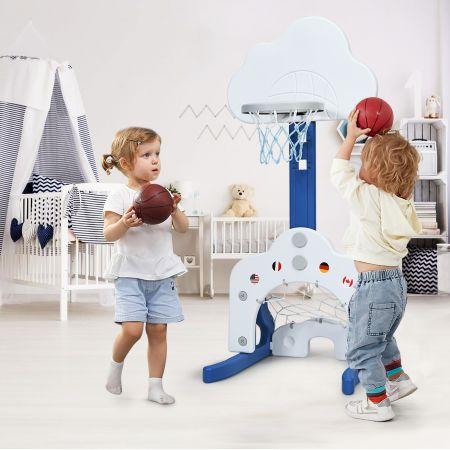 Costway Support de Basket Multifonctionnel 3-en-1 Hauteur Ajustable du Panier de 77 à 116cm Bleu foncé et Blanc