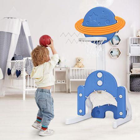 Costway Support de Basket Multifonctionnel 3-en-1 Hauteur Ajustables de 111 à 151cm Bleu Orange et Blanc