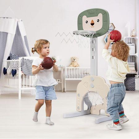 Costway Support de Basket Multifonctionnel 3-en-1 Hauteur Ajustables de 110 à 149cm Vert et Beige