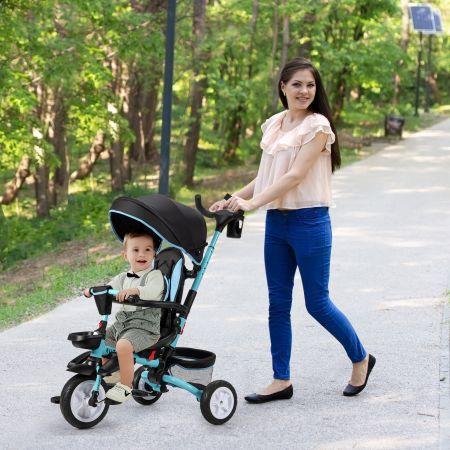 Costway Tricycle Evolutif pour Enfant 6 en 1 Siège Twist 360°avec Housse de Pluie pour Bébé de 12 à 50 Mois Noir et Bleu
