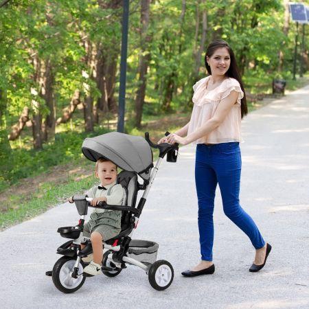 Costway Tricycle Evolutif pour Enfant 6 en 1 Siège Twist 360°avec Housse de Pluie pour Bébé de 12 à 50 Mois Noir et Gris