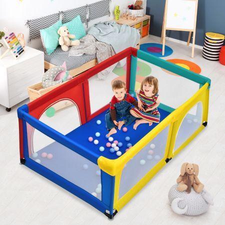 Costway Parc Bébé Portable aevc 50 Boules Colorées 122 x 192 x 69 CM Barrière de Sécurité de Enfants Pieds Antidérapantes