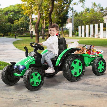 Costway Tracteur Electrique avec Télécommande 2.4G 12V 7AH Vitesse : 3-8 km/h MP3 Port USB pour Enfants de 3 à 8 Ans Vert