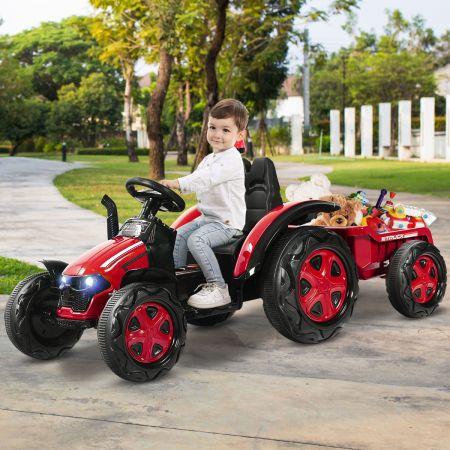 Costway Tracteur Electrique avec Télécommande 2.4G 12V 7AH Vitesse : 3-8 km/h MP3 Port USB pour Enfants de 3 à 8 Ans Rouge
