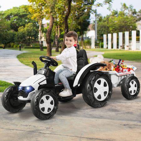 Costway Tracteur Electrique avec Télécommande 2.4G 12V 7AH Vitesse : 3-8 km/h MP3 Port USB pour Enfants de 3 à 8 Ans Vert Blanc