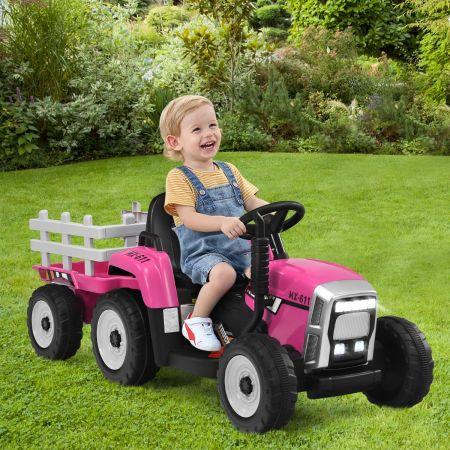 Costway Tracteur Electrique avec Remorque pour Enfants 3 Vitesses Lumières LED Fonctions Audio USB et Bluetooth Rose