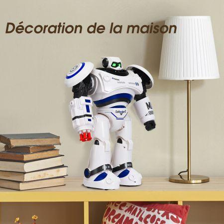 Costway Robot Télécommandé 2.4G de Combat avec 8 Balles Fonctions : Marche Glisse Danse Programmation pour Enfants 6+Ans Bleu