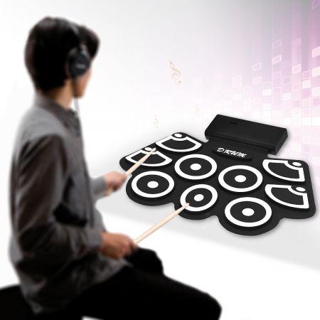 Costway Batterie Electronique Portable Electronique Roll Up Tambour avec Pédales et Baguettes Fonction Bluetooth