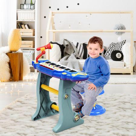 Costway Clavier de Piano Electronique à 37 Touches pour enfants avec Tabouret et Microphone Bleu