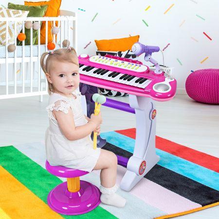 Costway Clavier de Piano Electronique à 37 Touches pour Enfants avec Tabouret et Microphone Rose