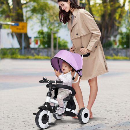 Costway Tricycle Bébé Evolutif Rose Vélo Enfant Poussette Pliable avec Le Pare-Soleil et la Tige-Poussoir pour Enfant de 1 à 5 Ans 91 x 50 x 102 CM