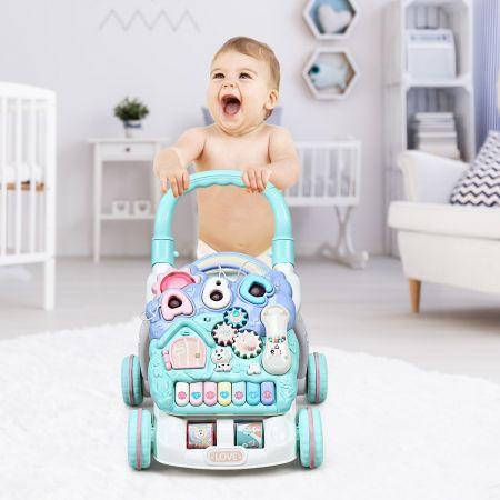 Costway Trotteur 2 en 1 Pousseur pour Bébé avec Lumière et Musique Activités d'Eveil Développement de l'intelligence 6-36 Mois