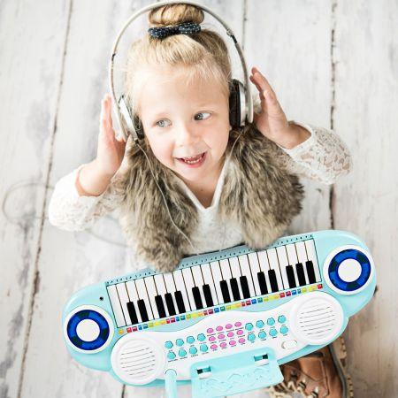 Costway Jouet Clavier de Piano Electronique 37 Touches avec Microphone Cadeau pour Enfants Bleu