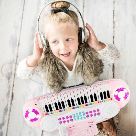 Costway Jouet Clavier de Piano Electronique 37 Touches avec Microphone Cadeau pour Enfants Rose