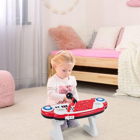 Costway Clavier de Piano Electronique à 37 Touches pour Enfants Jouet Educatif Portable avec Lumière Rythmique Rouge