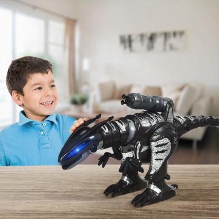 Costway Robot de Dinosaure Electrique avec 5 Missiles Sons Lumières Peut Tourner et Marcher Robot Télécommandé