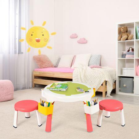 Costway Ensemble Table et 2 Chaises pour Enfants Multi-Usage Comme Table de Sable ou Bureau d'Etude Rose