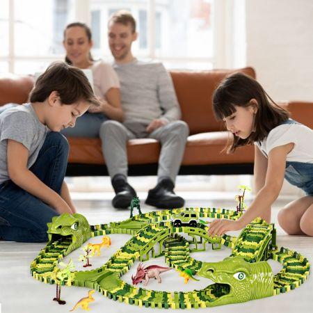 Costway Dinosaures Circuit Flexible 261 Pièces de Rail Piste Flexible idéal pour Enfant de 3 ans+