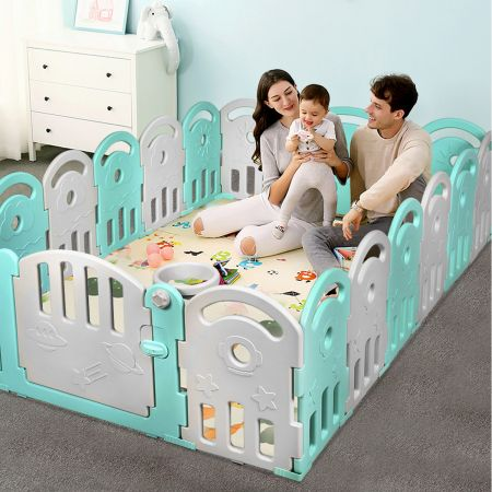Costway Parc pour Bébé 18 Panneaux en Plastique-Non Toxiqueavec Boîte à Musique et Panier de Basket pour Enfant 6 -36 mois