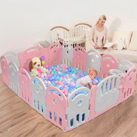 Costway Parc pour Bébé 16 Panneaux en Plastique-Non Toxiqueavec Boîte à Musique et Panier de Basket pour Enfant 6 -36 mois