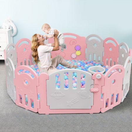 Costway Parc Bébé en Plastique avec 14 Panneaux avec Porte Serrure pour Enfant 6-36 mois Gris et Rose
