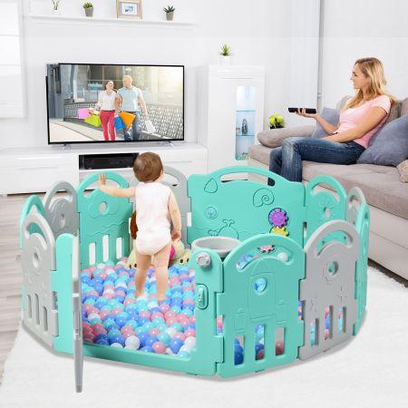Costway Parc Bébé Pliable en HDPE 12 Panneaux avec Porte et Boîte à Musique pour Enfants de 6 à 36 Mois Vert