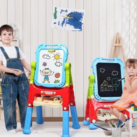 Costway Tableau Enfant Chevalet 2 Face: Tableau Blanc et Tableau à Craie  pour Enfant Pivotant à 360° avec 23 Accessoires 3 Ans+