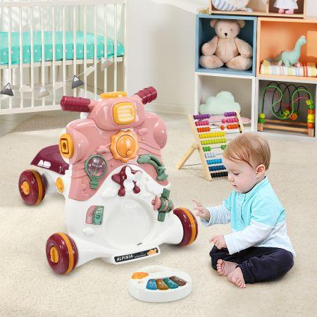Costway Trotteur 3 en 1 Pousseur pour Bébé avec Lumière et Musique Activités d'Eveil 6-36 Mois Rose