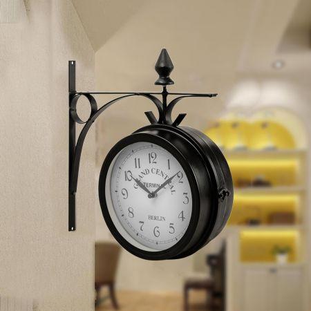 Costway Horloge de Gare Pendule Murale Rétro en Métal Double Face Cadran des 2 Côtés pour Intérieur et Extérieur