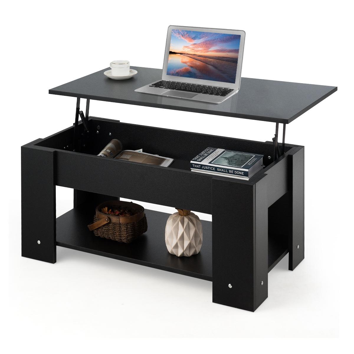 Costway Table Basse avec Plateau Relavable et 20 Etagère pour Rangement  Style Moderne 20 x 520 x 20 CM Noir